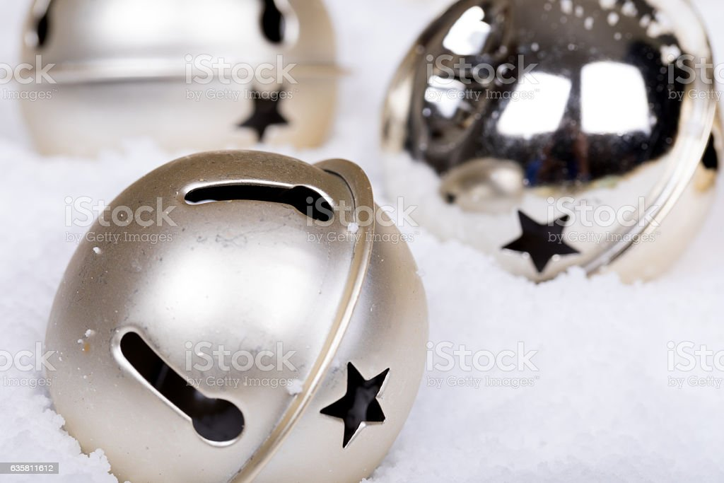 Baubles in the snow 2 stock photo