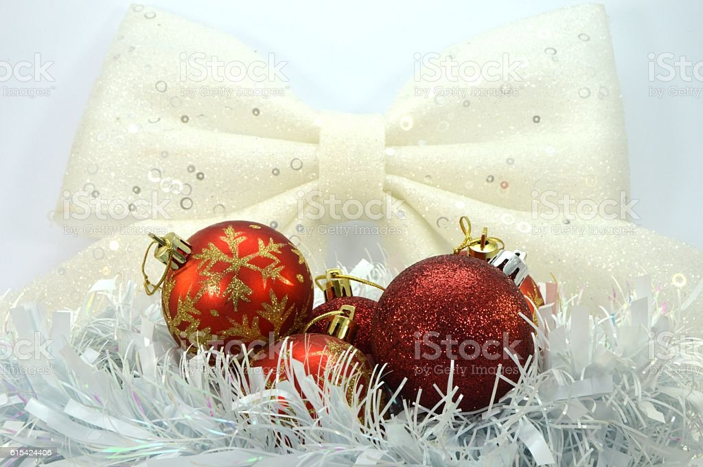Baubles of Christmas put in a nest. stock photo
