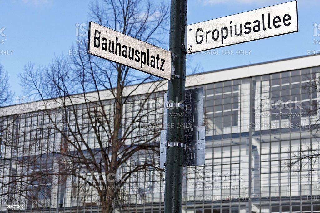 Bauhaus Dessau facade with street name sign royalty-free stock photo