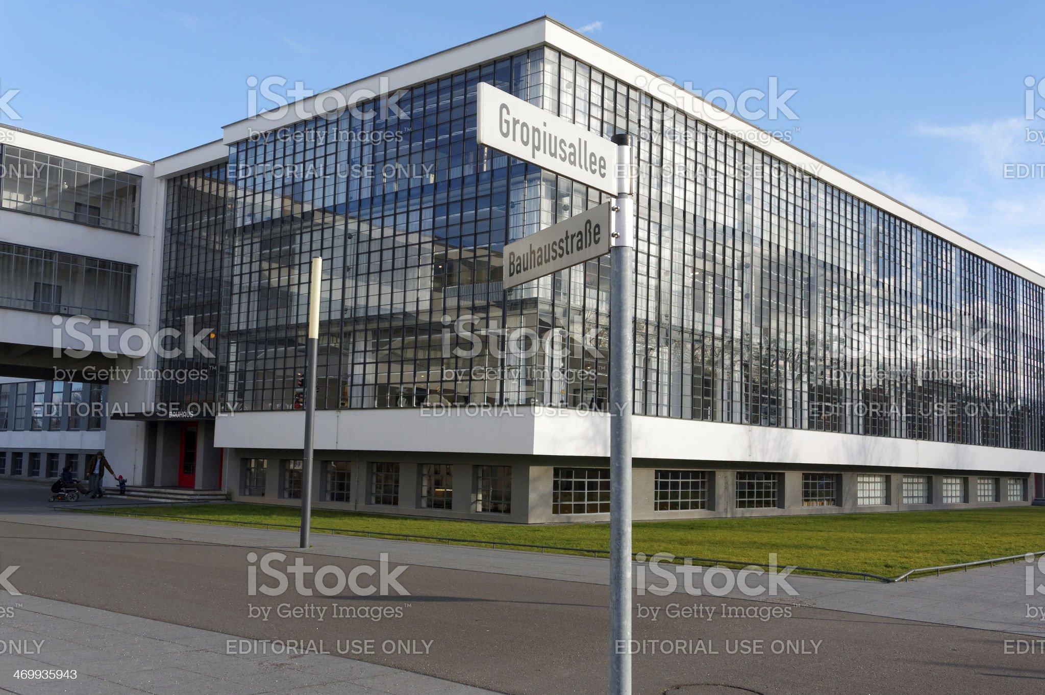 Bauhaus Dessau with street name sign royalty-free stock photo