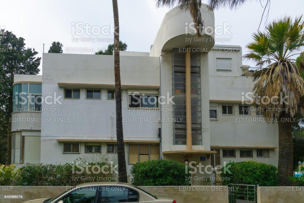 Bauhaus style house, in Haifa stock photo