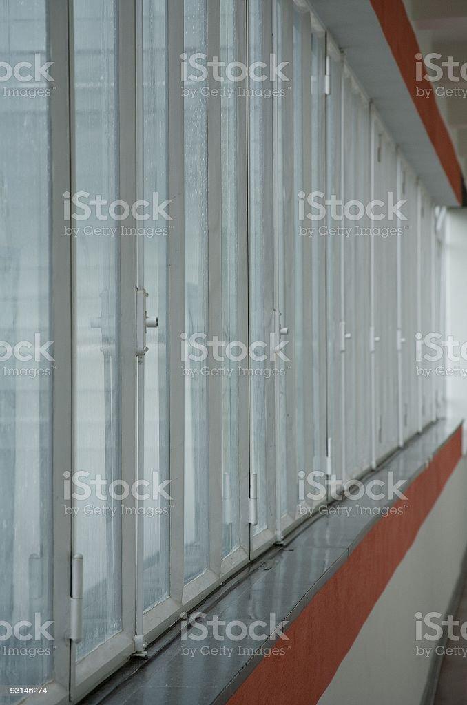 Bauhaus windows in Dessau stock photo