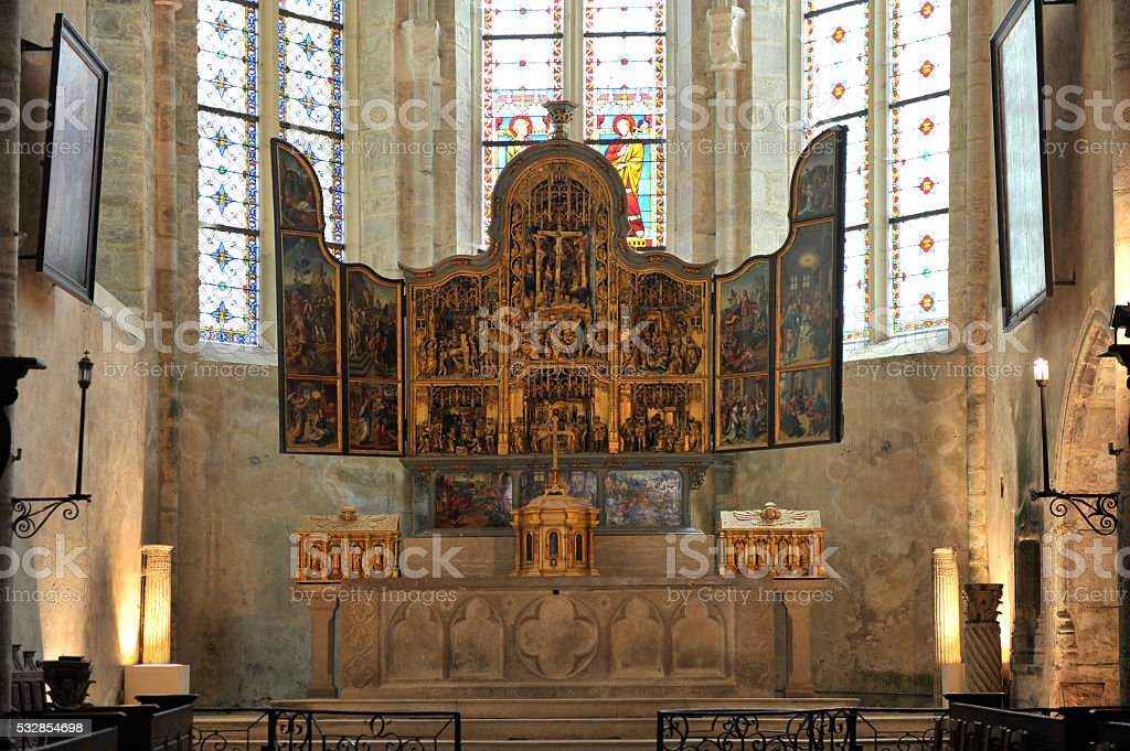 Baume-les-Messieurs: church of the clunisian abbey stock photo