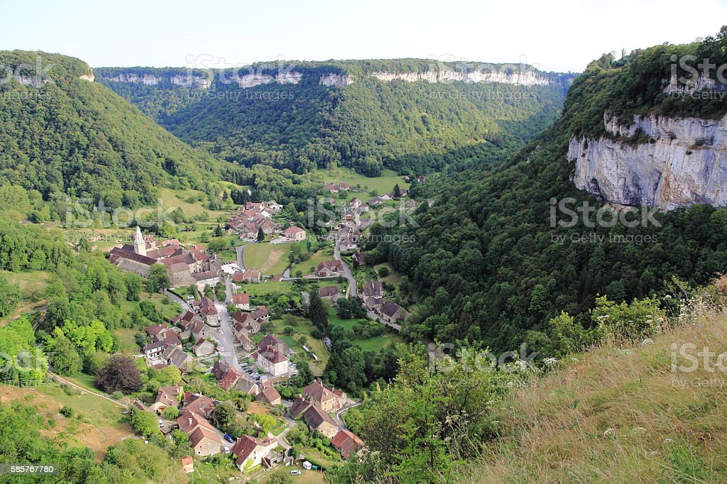 Baume-les-Messieurs, village of Jura stock photo