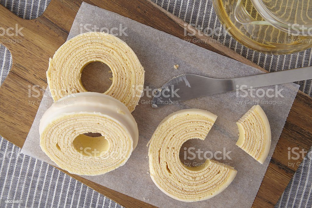 Baumkuchen at teatime from high-angle stock photo