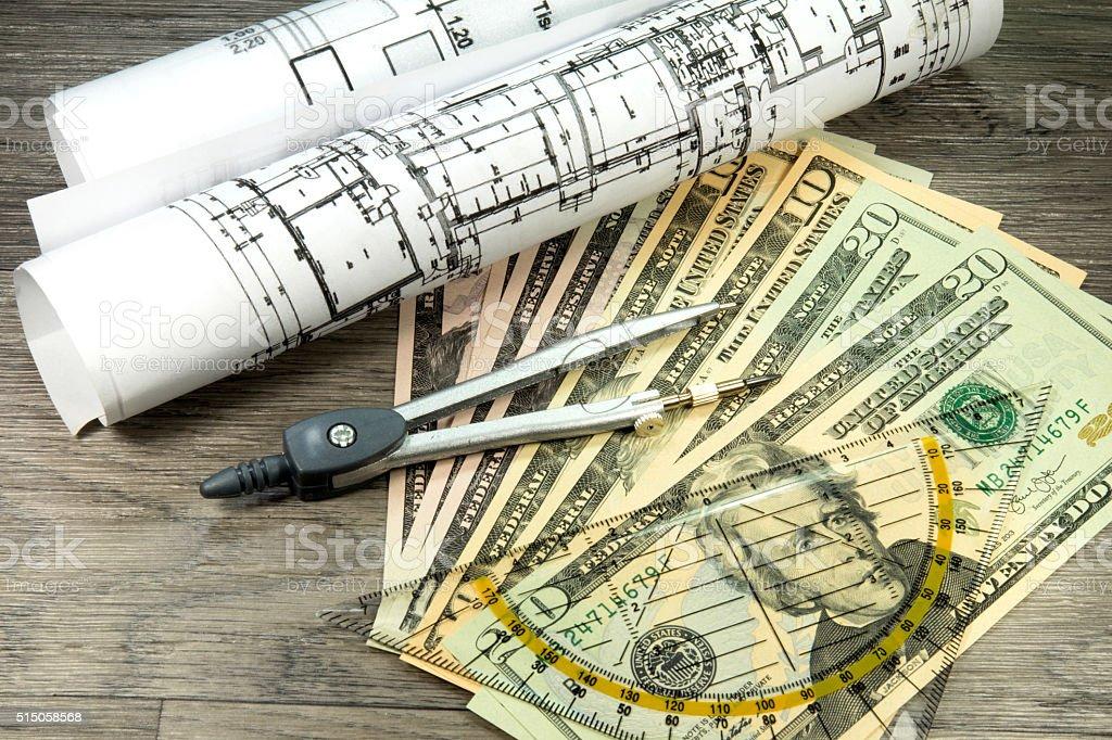 Baupläne und Bargeld stock photo