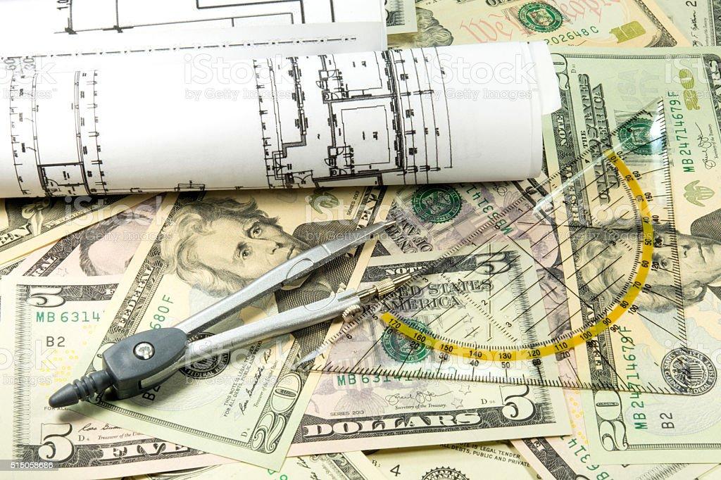 Baupläne und Geld stock photo