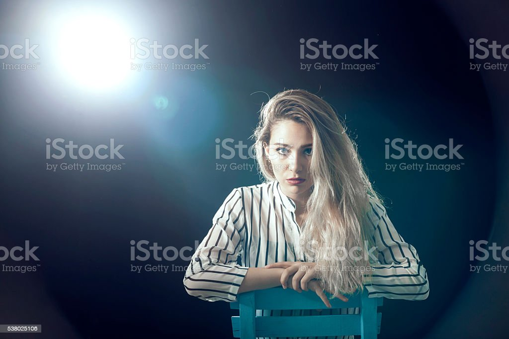 Bautiful woman in studio  black background stock photo