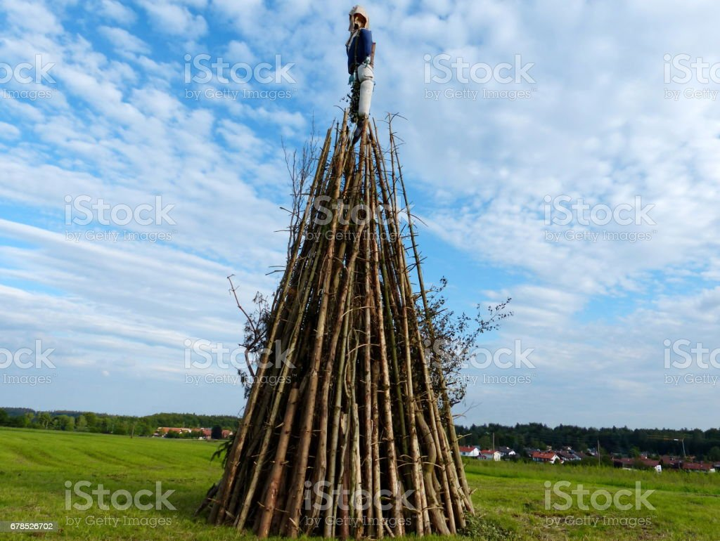 Bavaria, Customs and tradition. Johannisfeuer or Sonnwendfeuer where  Straw dolls are burned at Saint John's Eve. stock photo