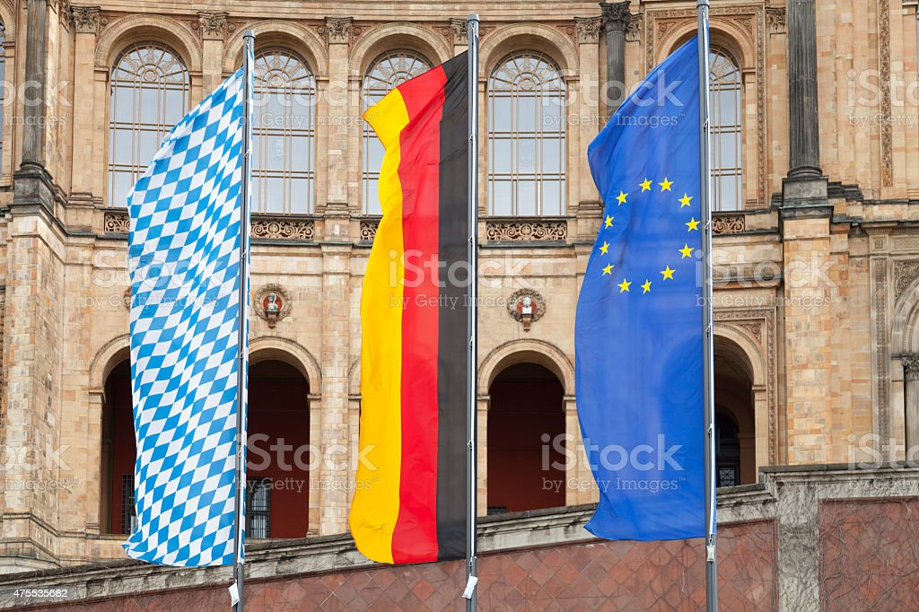 Bavaria, Germany, EU flags, front of parliament, Upper Bavaria stock photo