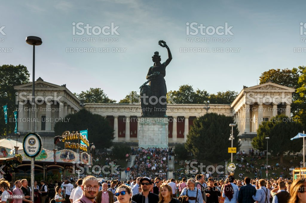 Bavaria statue at Theresenwiese during Oktoberfest in Munich, 2016 stock photo