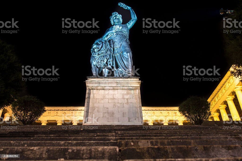 Bavaria statue at Theresenwiese in Munich during night, Germany, 2015 stock photo