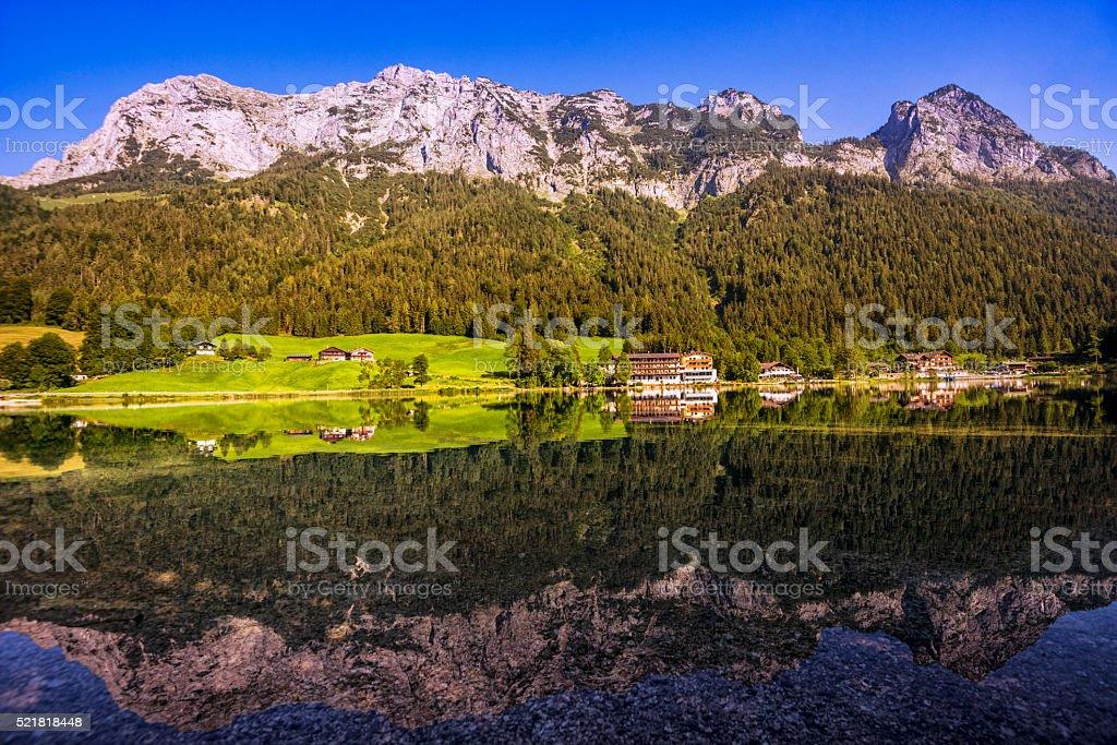 Bavarian alpin lake Hintersee, Berchtesgaden stock photo