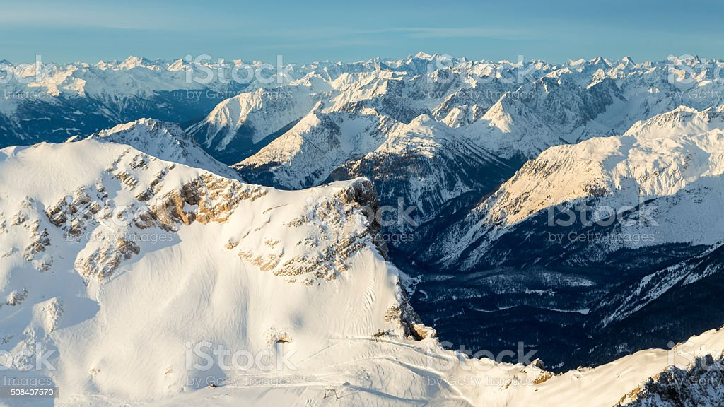 Bavarian Alps in winter stock photo