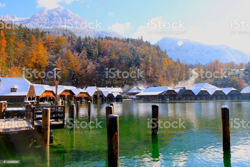 Bavarian Alps Konigssee lake, idyllic landscape, majestic alps valley, dramatic Bavaria german Snowcapped mountain range panorama, Berchtesgaden alps, Germany stock photo
