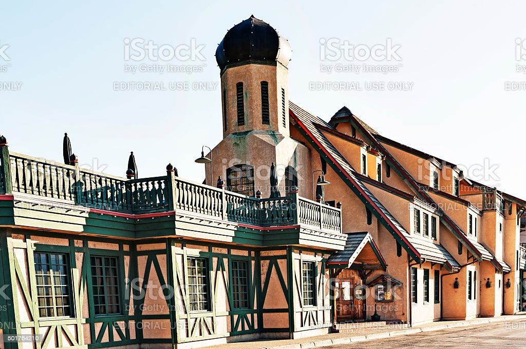 Bavarian Architectural Features Leavenworth Washington stock photo
