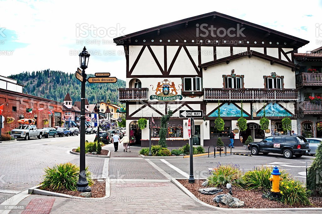 Bavarian Architecture in the streets of Leavenworth stock photo