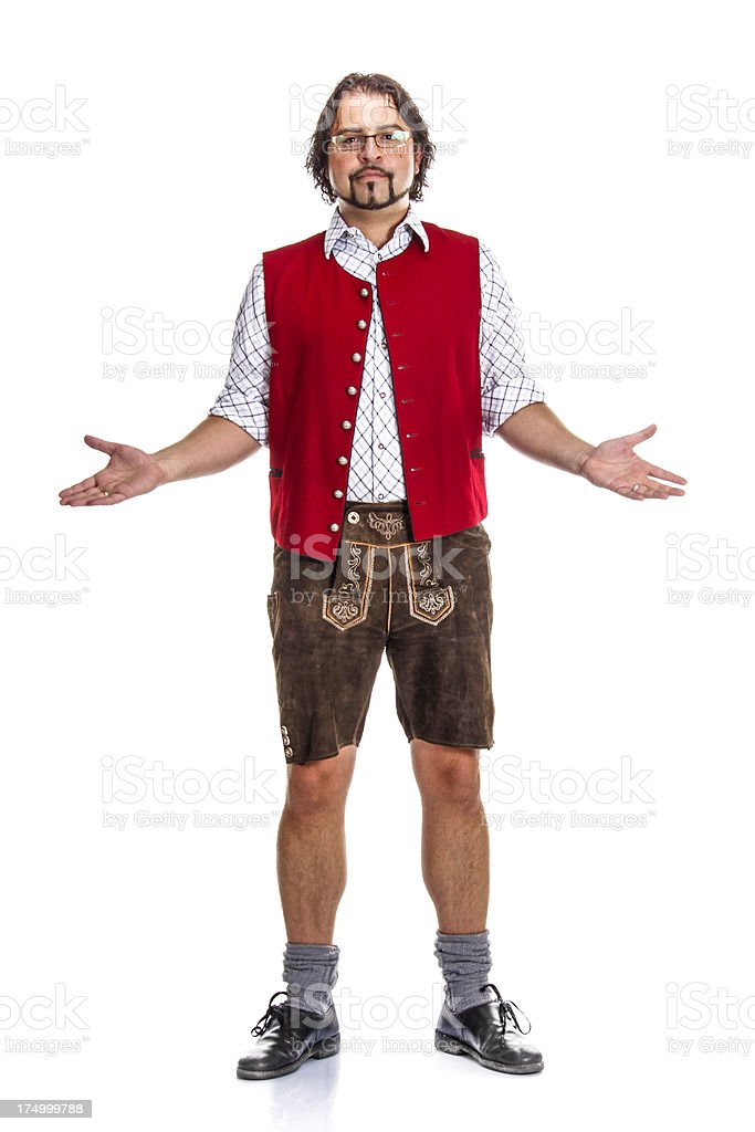 Bavarian / Austrian Man with Arms Outstretched stock photo