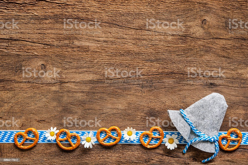 Bavarian background with copy space for Oktoberfest stock photo