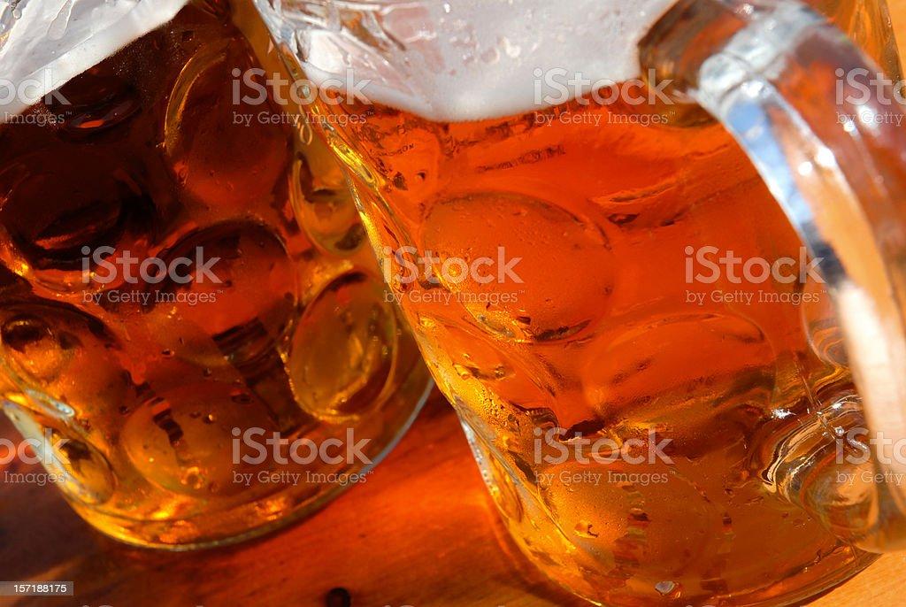Bavarian beer mugs royalty-free stock photo
