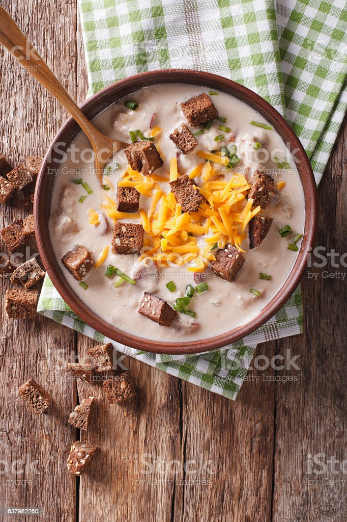 Bavarian beer soup with cheese and bacon closeup stock photo
