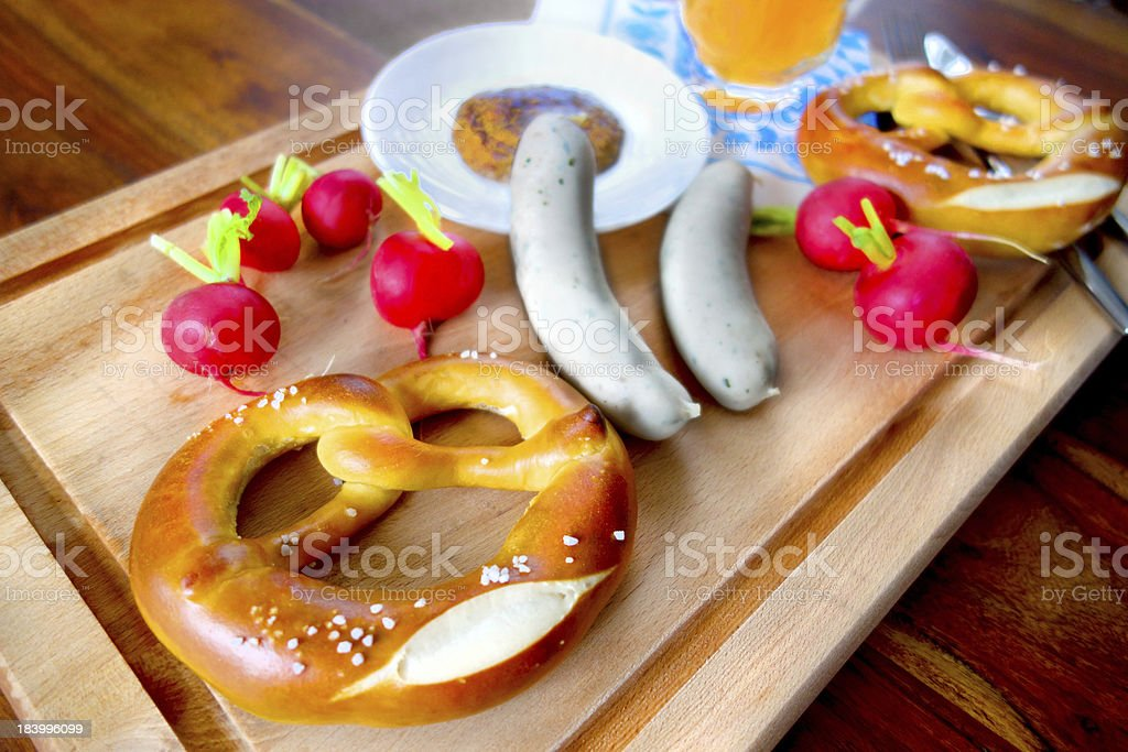 Bavarian breakfast at Oktoberfest Munich royalty-free stock photo