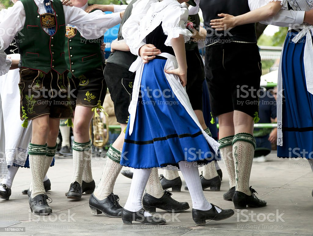 bavarian folk dance at oktoberfest stock photo