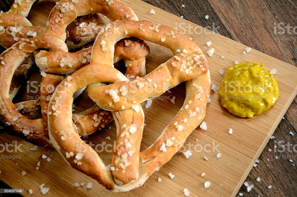 Bavarian German Pretzel Bar Snacks and Mustard stock photo