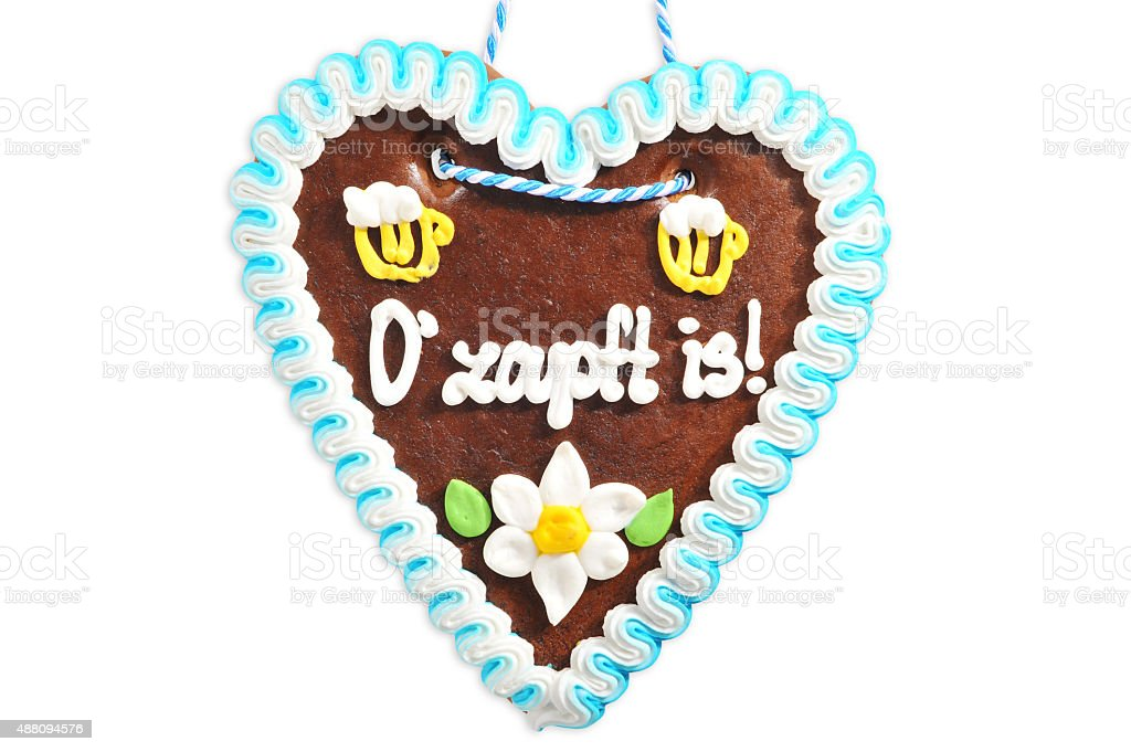 Bavarian gingerbread heart stock photo