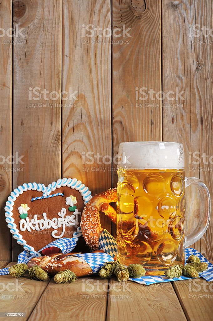 Bavarian gingerbread heart with beer stock photo