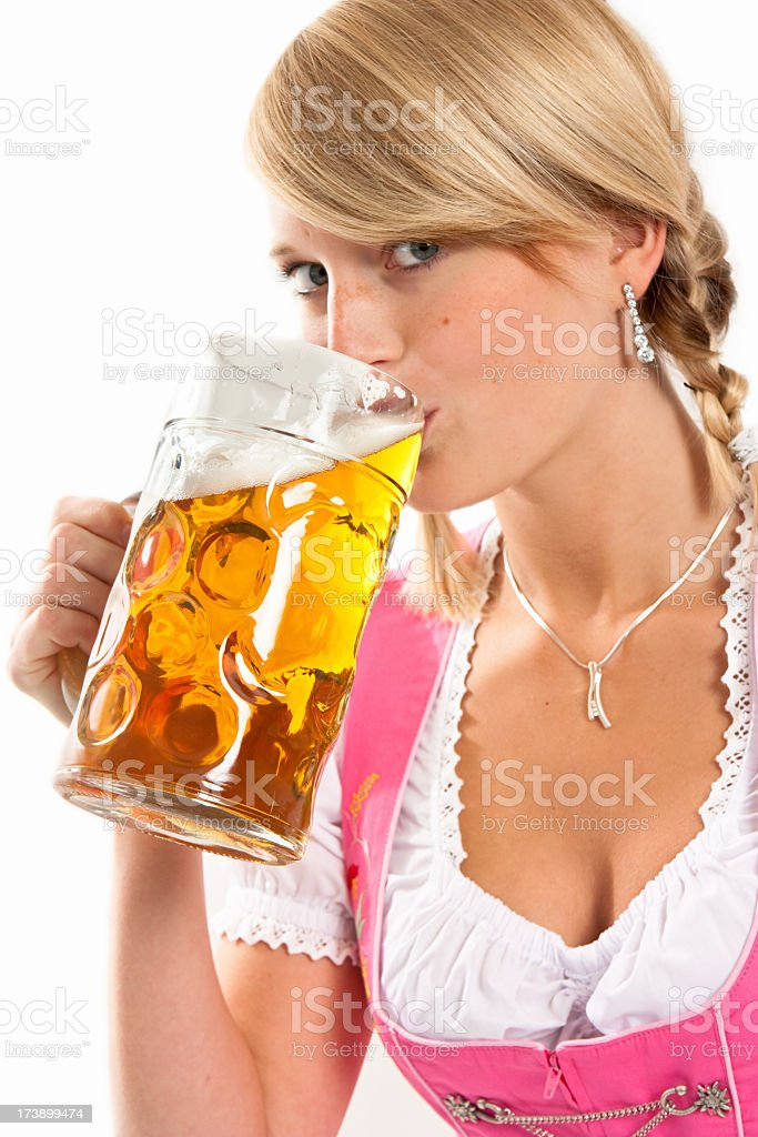 Bavarian girl enjoying the oktoberfest stock photo