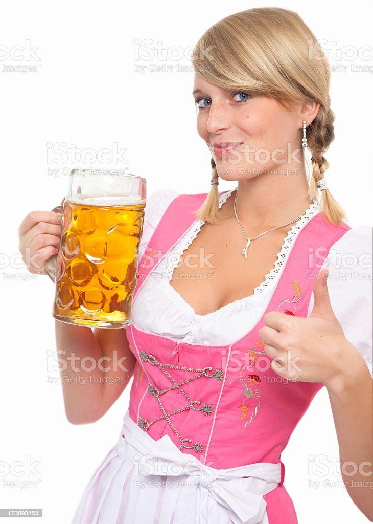 Bavarian girl is holding an oktoberfest 'maßkrug' stock photo