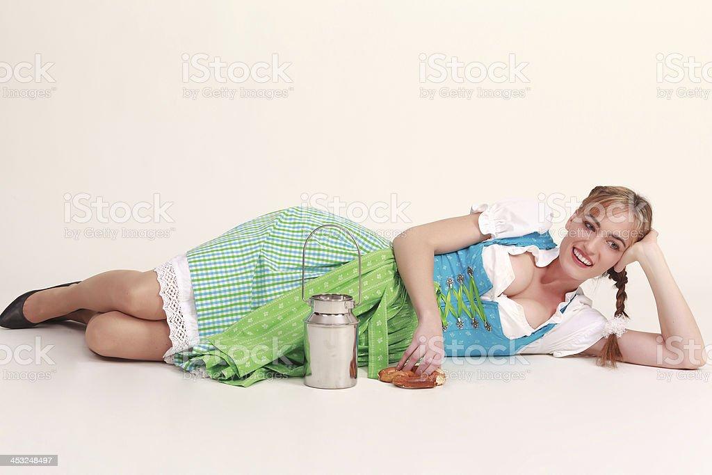 Bavarian girl laughing royalty-free stock photo