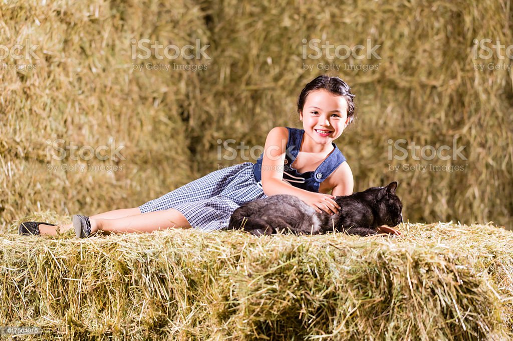 Bavarian girl playing with cat on hayloft stock photo