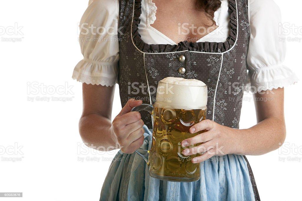 Bavarian Girl with Oktoberfest Beer Mug royalty-free stock photo
