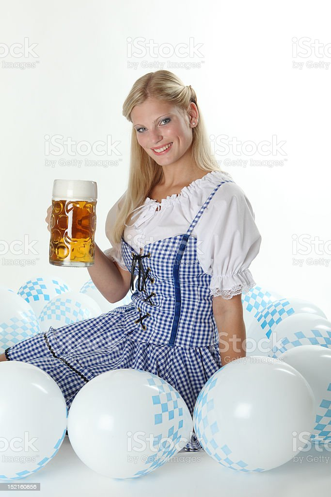 Bavarian Girl with Oktoberfest Beer royalty-free stock photo