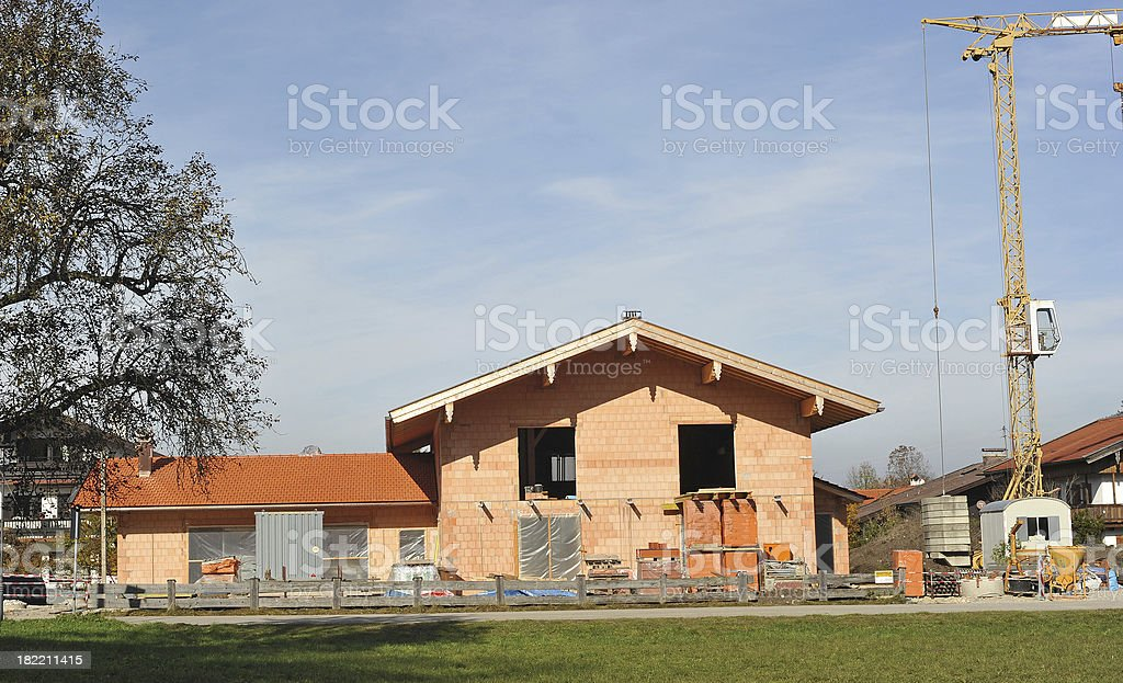 bavarian house construction site - Baustelle für Einfamilienhaus stock photo