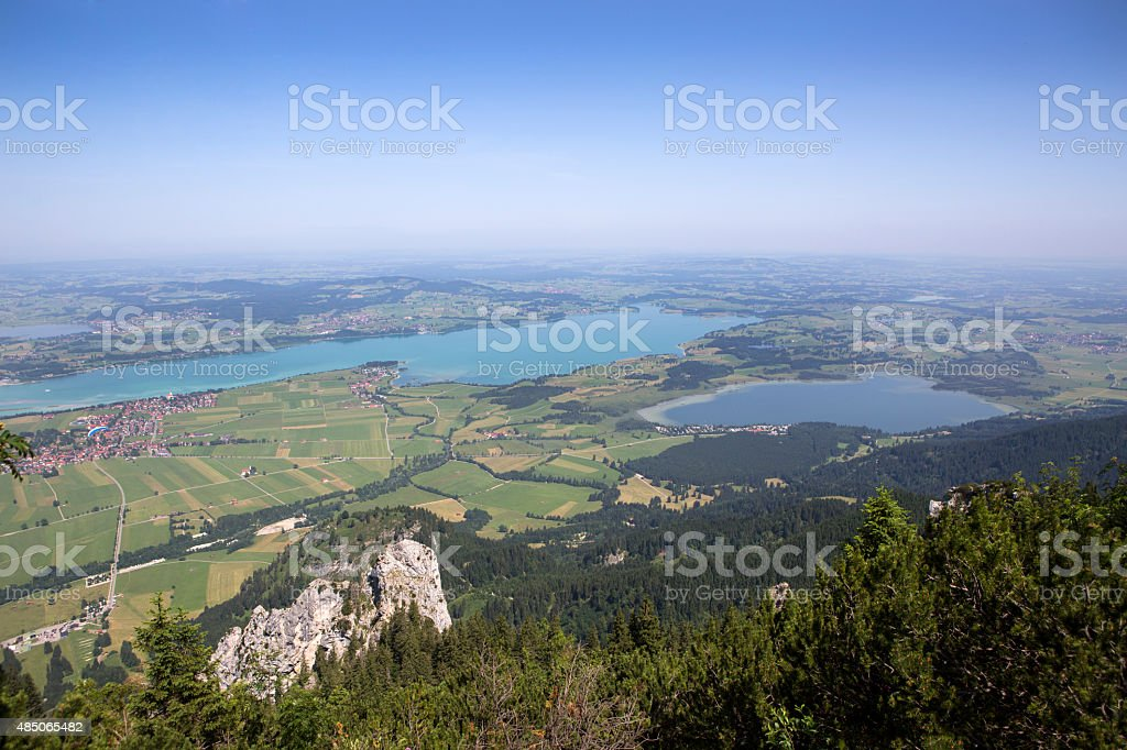 Bavarian lake Forggensee from above stock photo