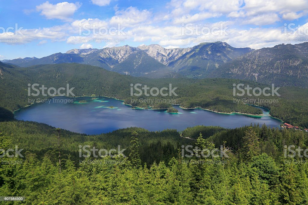 Bavarian landmark lake Eibsee, Germany stock photo
