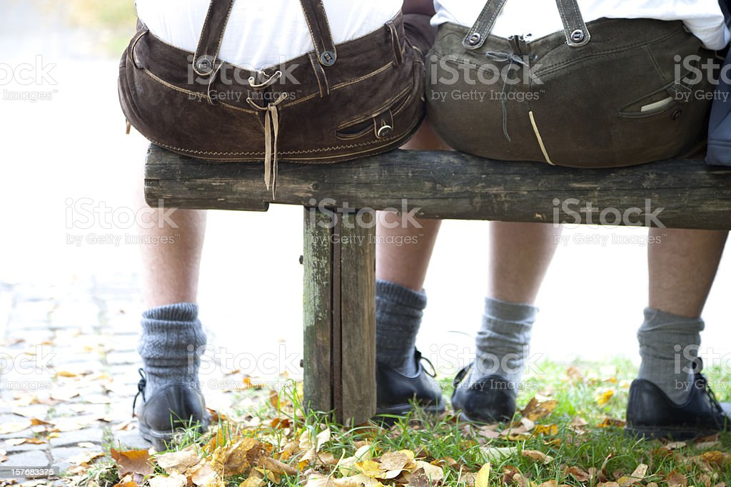 bavarian lederhosen butts at the oktoberfest in munich stock photo