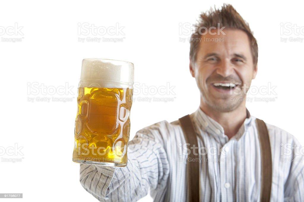 Bavarian Man Holding Oktoberfest Beer Stein (Mass) royalty-free stock photo