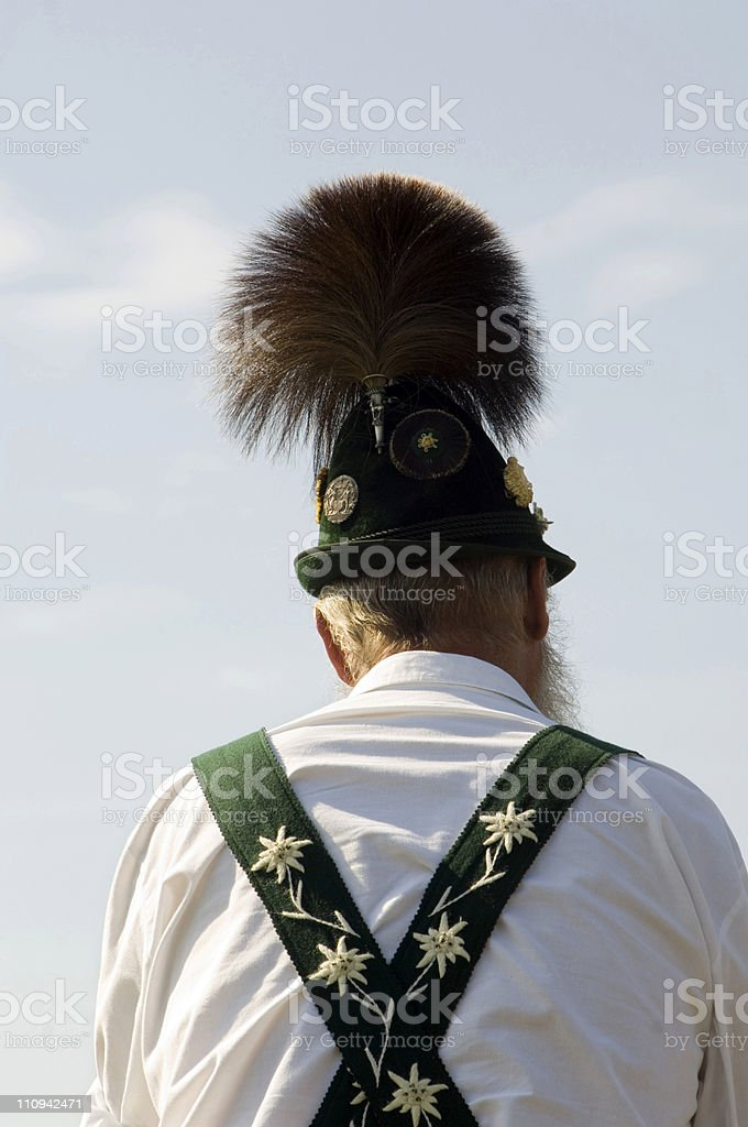 Bavarian man traditional hat, Germany stock photo