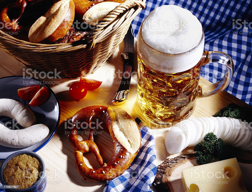 Bavarian meal and a glass of beer stock photo