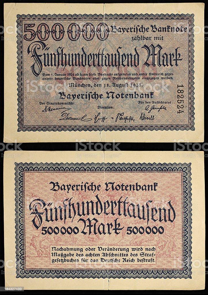 Bavarian money from 1923 500000 marks stock photo