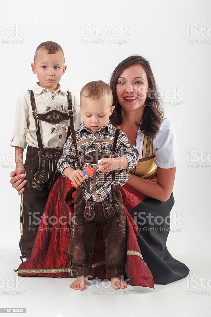 Bavarian mother in costume stock photo