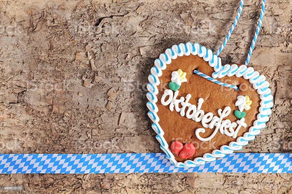 Bavarian Oktoberfest gingerbread heart stock photo