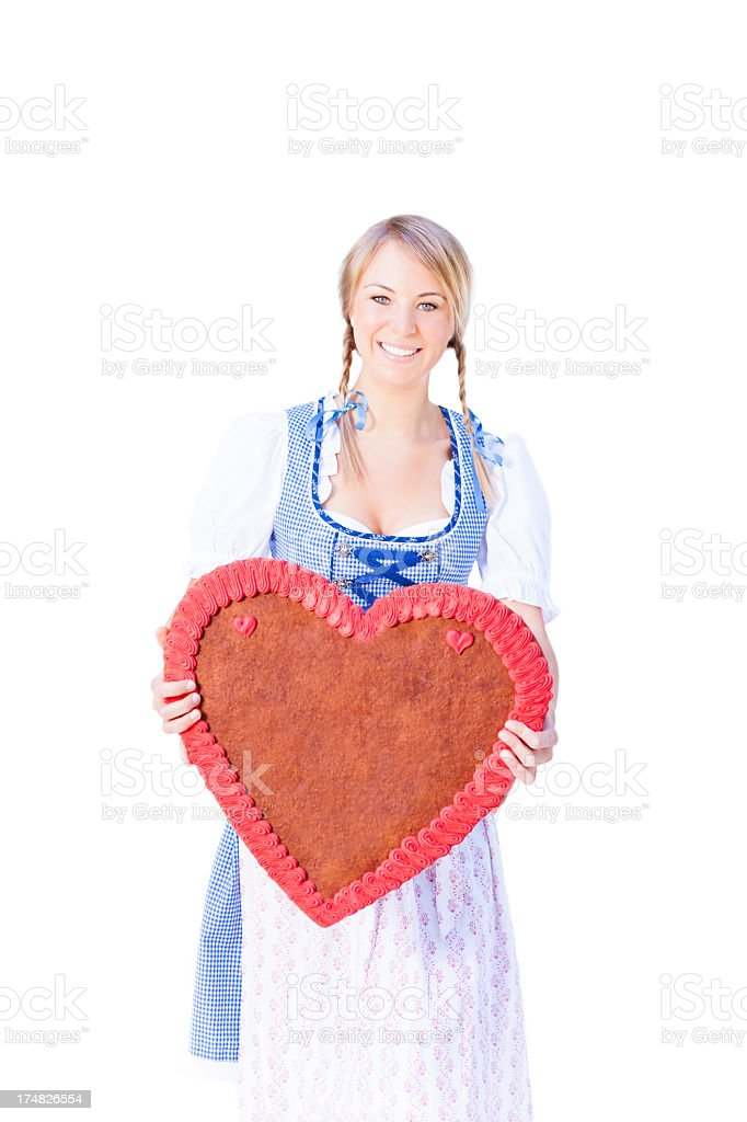Bavarian Oktoberfest girl with gingerbread cookie royalty-free stock photo