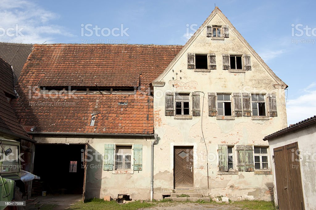 bavarian old abbandoned house farm homestead - Alter Bauernhof stock photo