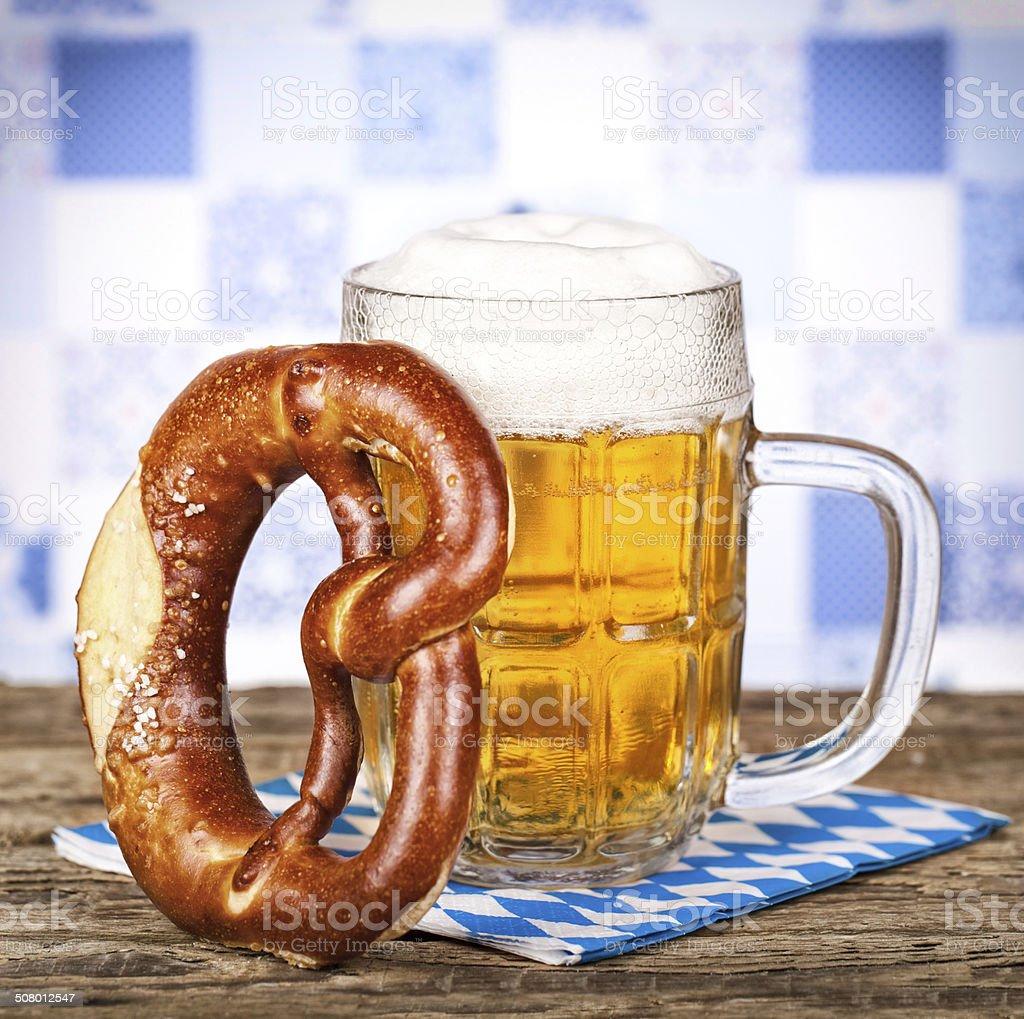 Bavarian pretzel and beer stock photo