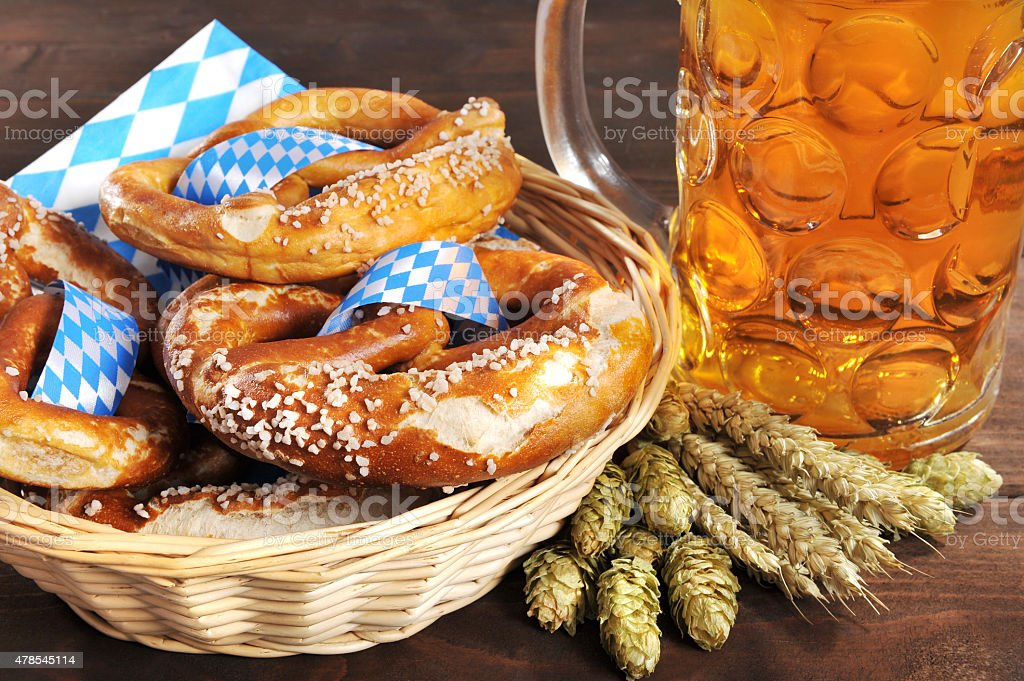 Bavarian pretzels with beer stock photo
